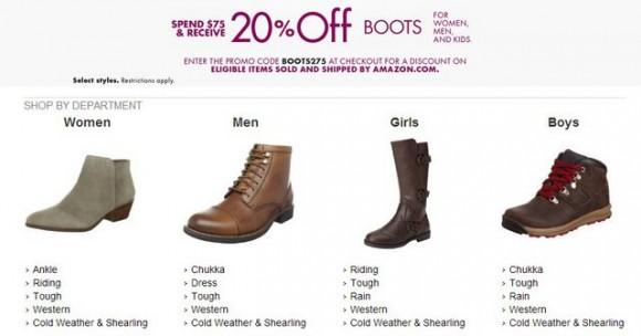 美国Amazon鞋类优惠码,满$75享额外8折