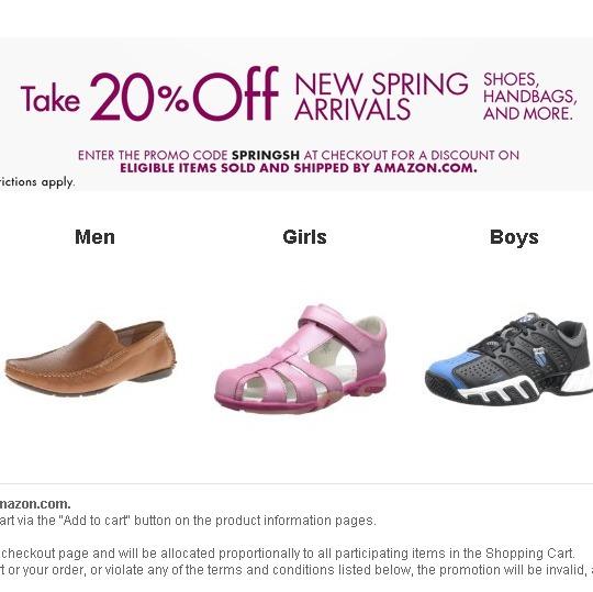 2014年3月,美国亚马逊最新鞋包8折优惠码 优惠券 仅限自营哦
