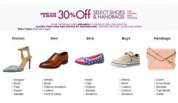 美国Amazon最新优惠券,自营鞋包类满$100额外7折