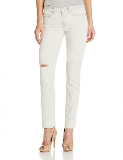 略低的白菜价,Calvin Klein 女士修身破洞牛仔裤