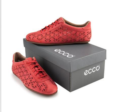 可用75折券,2014年新款ECCO爱步女式镂空平底休闲鞋