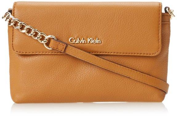 可用75折神码,Calvin Klein 女士真皮斜挎包
