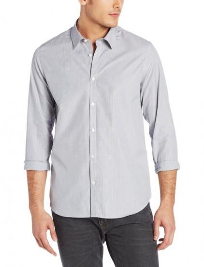 历史新低,Calvin Klein 男款纯棉长袖条纹衬衫