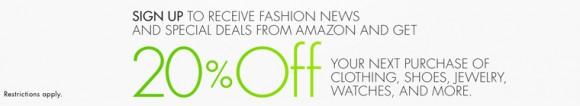 美国亚马逊新人8折优惠券恢复领取,可用于服装、鞋类箱包等