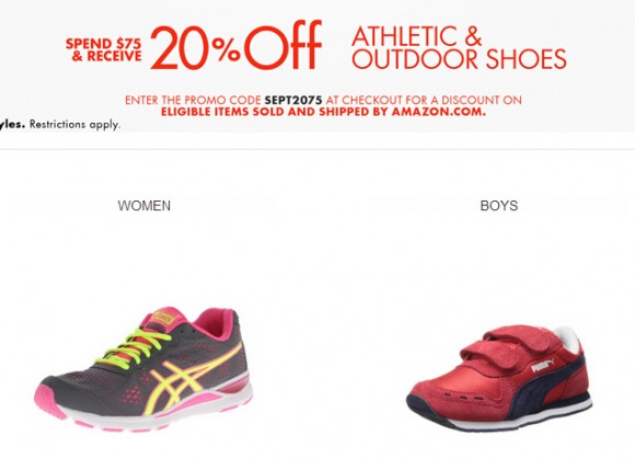 美国亚马逊最新优惠码,休闲运动鞋满$75额外8折优惠码
