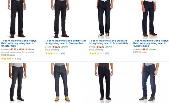 美国亚马逊,7 For All Mankind 多款男女牛仔裤促销中