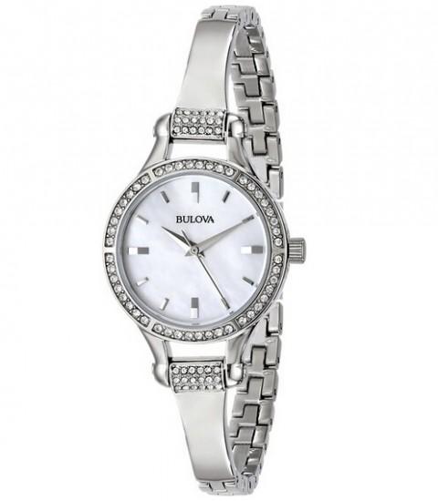历史新低,Bulova 96L128 宝路华珍珠母贝镶钻手镯女表