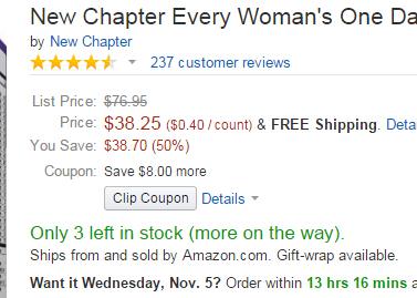有8刀优惠券!New Chapter 新章40岁以下女性每日一片 96粒