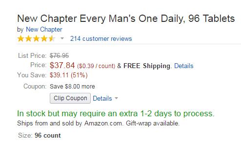 有8刀优惠券!New Chapter 新章40岁以下男性每日一片 96粒