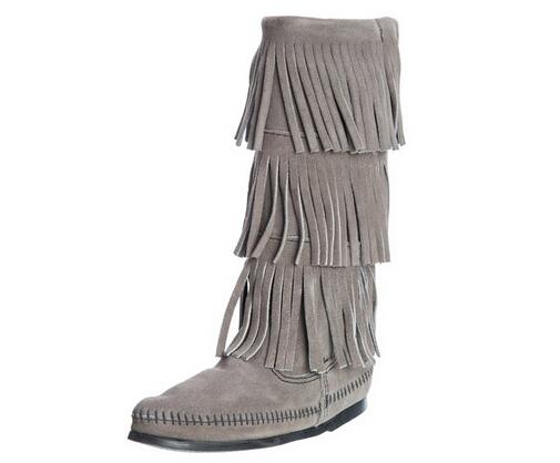 灰色新低可直邮,Minnetonka 迷你唐卡13寸3层流苏平底中长靴