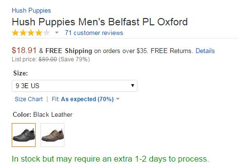 不到20刀的大脚福利!Hush Puppies 暇步士男士休闲皮鞋