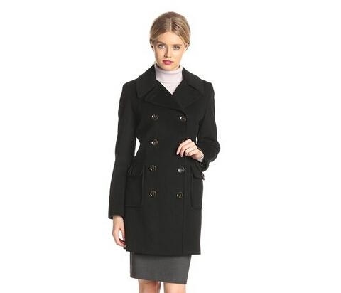 反季清仓价!Calvin Klein 女士双排扣羊毛混纺大衣