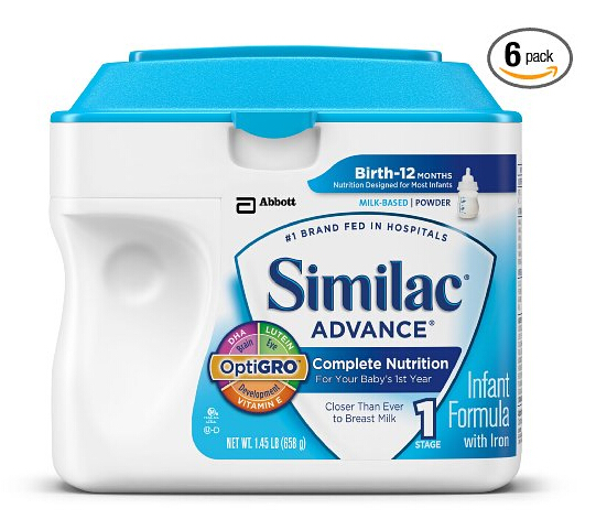 奶粉直邮好价,Similac 美国雅培金盾含铁1段配方奶粉657g*6罐
