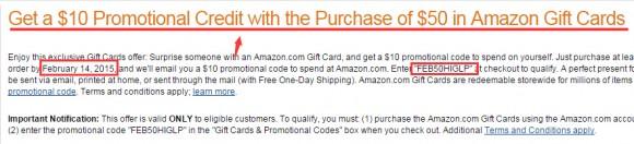 2月份买赠活动生效!Amazon Giftcard 美亚礼品卡买$50送$10抽奖活动