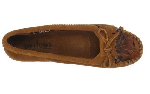 近期新低,Minnetonka 迷你唐卡女士真皮平底休闲鞋