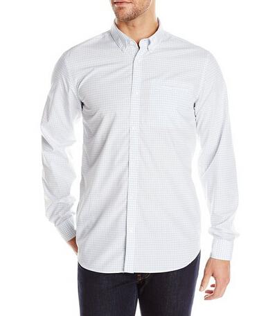 直邮新低哦!Calvin Klein 男士100%纯棉休闲长袖细格衬衫