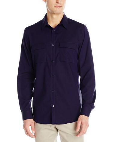 多色新低可直邮!Calvin Klein 男士100%纯棉休闲长袖纯色衬衫