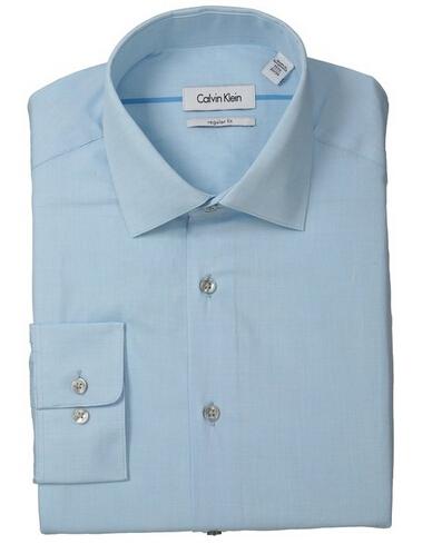 最低价可直邮!!Calvin Klein 男士修身免熨长袖衬衫