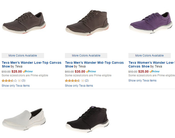 美亚金盒特价,Teva帆布休闲鞋全场一律5折