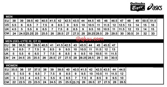 ASICS亚瑟士跑鞋尺码表,男女都有,各种海淘型号,附真人尺码对比