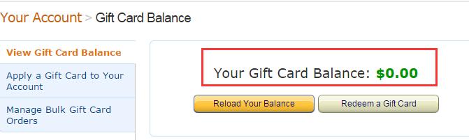 如何查看美亚礼品卡余额, Gift Card Balance