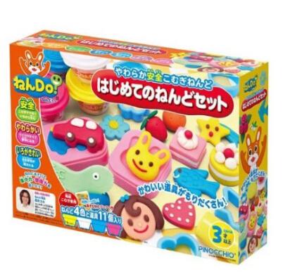 日亚新低价!日本Pinocchio幼儿安全无毒小麦粘土彩色橡皮泥4色+11道具