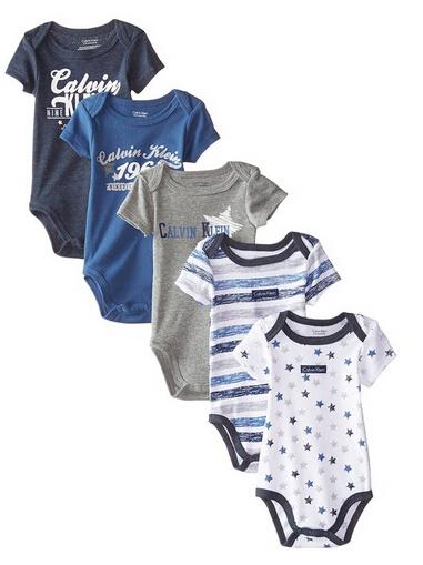 美亚直邮好价!Calvin Klein男女童连体衣5件装 6款可选