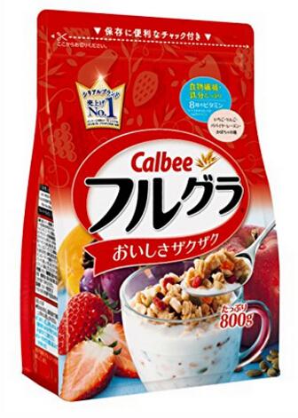 日亚最低价!Calbee 水果颗粒果仁谷物营养麦片 800g*6袋