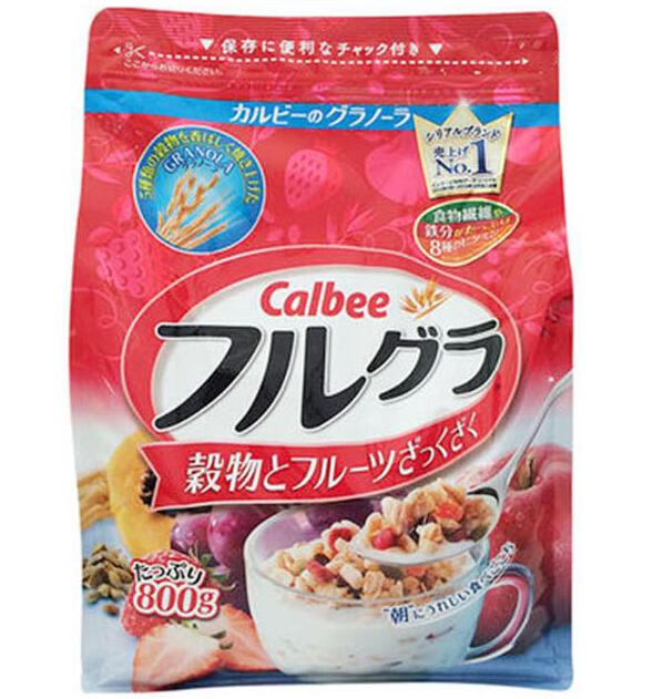 丰趣海淘推荐!日本销量第一的Calbee卡乐比水果颗粒果仁谷物麦片800g*2包