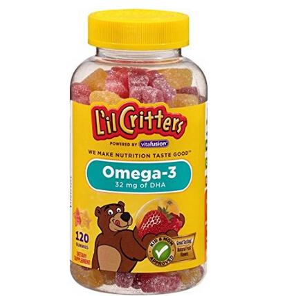 近期好价!小熊糖 儿童OMEGA-3鱼油含DHA软糖 120粒*3瓶