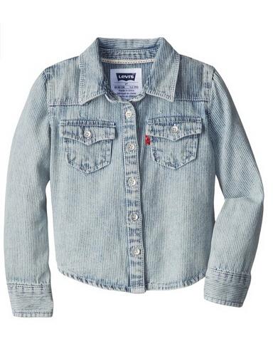 限尺码好价!Levi's 李维斯 Core Denim 女童牛仔衬衫