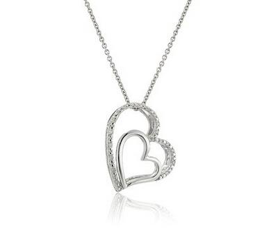 直邮白菜价!Sterling Silver Diamond 925银双心形吊坠项链