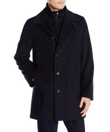 金盒特价!Nautica Wool-Blend 诺帝卡男士羊毛混纺大衣