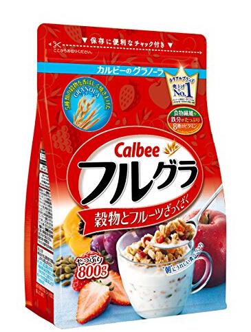 日亚销量第一!Calbee卡乐比水果颗粒果仁麦片800g*6袋装