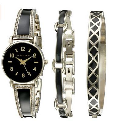金盒特价!Anne Klein 2052BKST Swarovski 女士手镯式手表