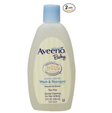 凑单新低!Aveeno Baby Wash&Shampoo 婴儿洗发沐浴二合一(236ml*2瓶)