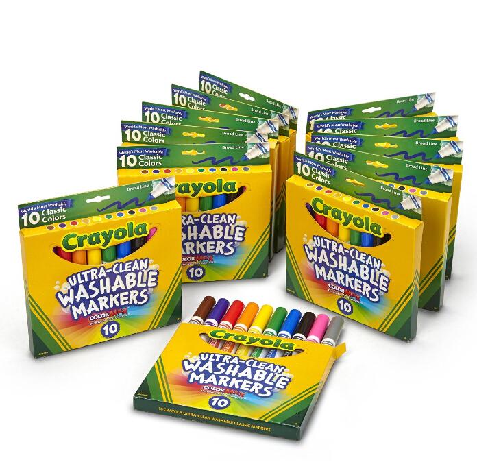 金盒特价!囤货!Crayola 绘儿乐 10色粗头水彩笔*12套(共120支)