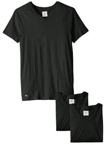 直邮好价!Lacoste 法国鳄鱼男士皮马棉短袖V领T恤3件装