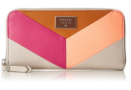 美亚新低价!Fossil Dawson 化石女士长款拼色钱包