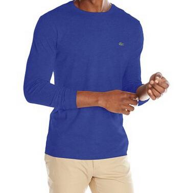 秋款来了!直邮,Lacoste 法国鳄鱼男士皮马棉长袖T恤