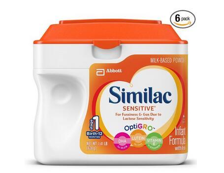低敏防拉肚子配方!Similac Sensitive 雅培金盾1段奶粉638g*6罐装