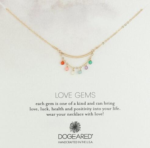 数量不多,手快!Dogeared Love Gems 彩色吊坠金色项链