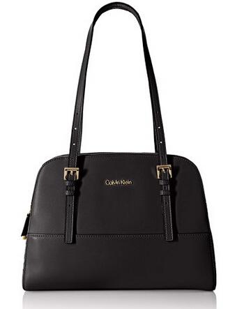 近期好价!Calvin Klein Glazed Satchel 真皮手提包