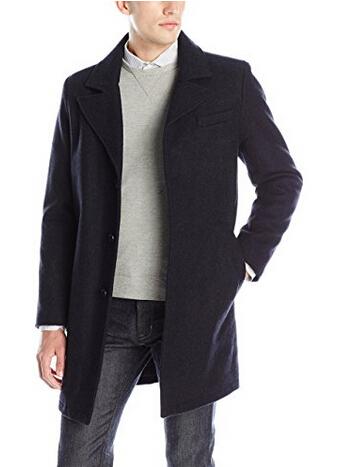 额外7折!KENNETH COLE New York 单排扣男士羊毛大衣