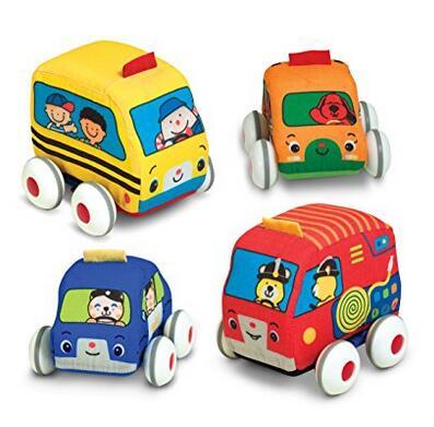直邮可入!Melissa & Doug 软布回力车儿童玩具四件套