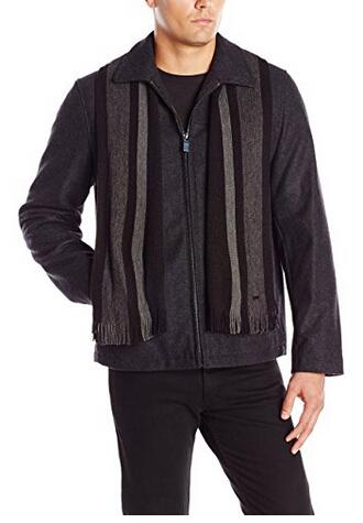 L码起好价, Calvin Klein 男士毛呢外套 附围巾