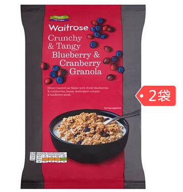 西集网特价!Waitrose 蔓越莓蓝莓营养早餐水果麦片 1000g*2袋