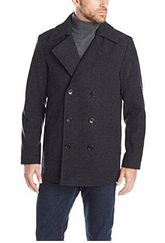限尺码好价,Haggar 男士双排扣羊毛混纺大衣