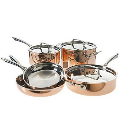 金盒特价!Cuisinart 美膳雅 Tri-Ply Copper 不锈钢厨具8件套