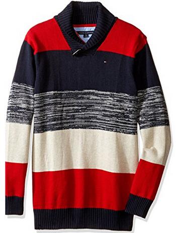 新低价!Tommy Hilfiger 汤米·希尔费格 Ron Shawl Sweater 男童条纹毛衣
